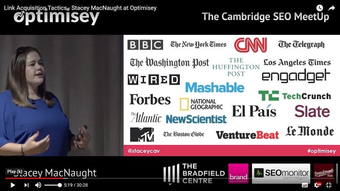 A screenshot of a video of Stacey MacNaught talking at the Optimisey SEO event
