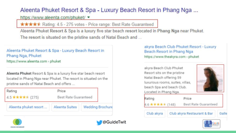 screen shot of Google search results for a resort showing ratings and price range