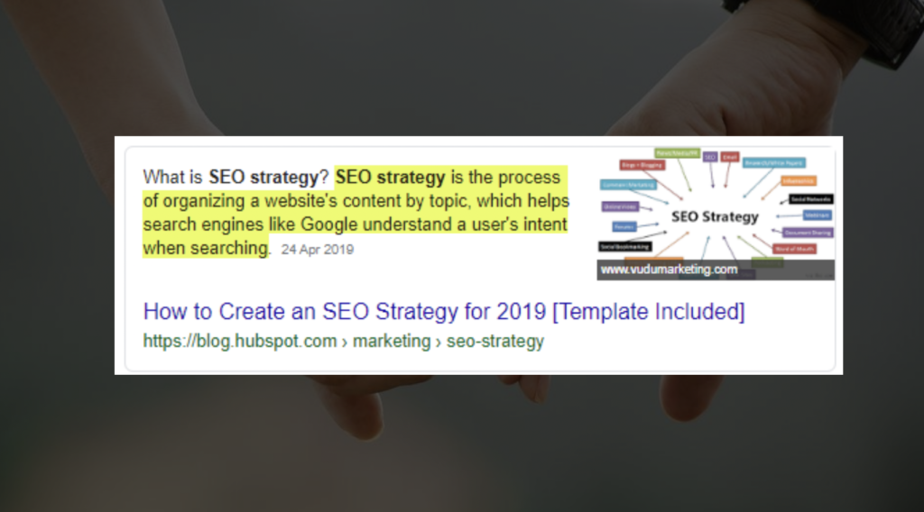 A slide from Natalie Mott's Optimisey SEO event talk - showing a definition of 'SEO strategy'
