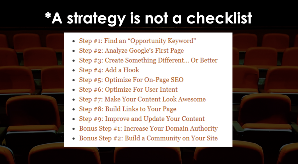 A slide from Natalie Mott's Optimisey SEO event talk - showing an 'SEO strategy' checklist