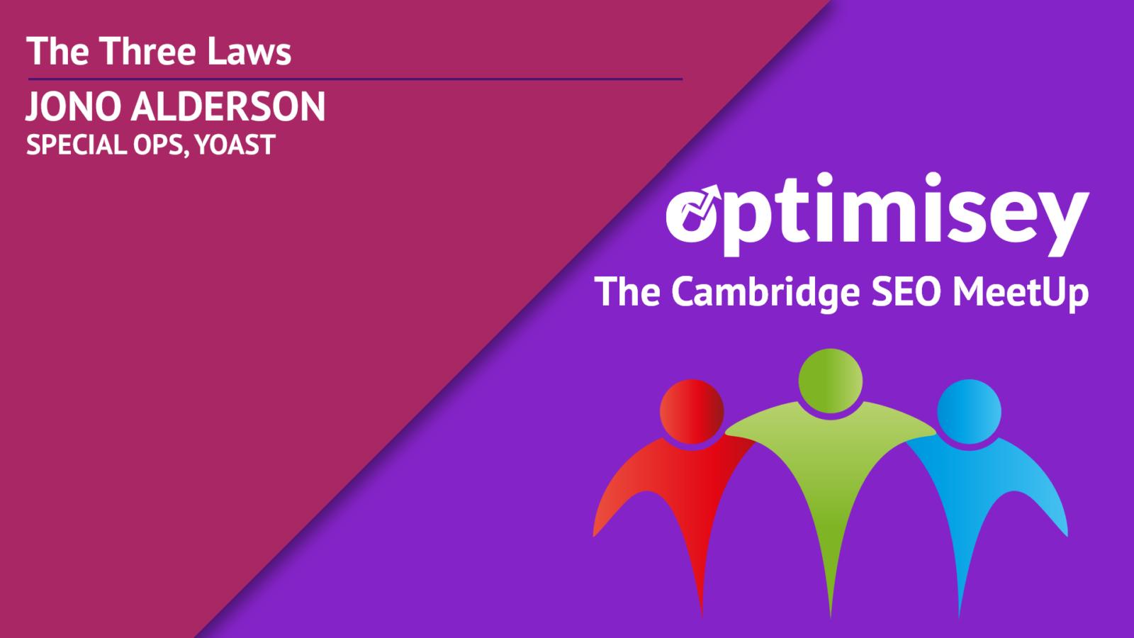 Opening slide for Jono Alderson's talk at the Optimisey SEO event