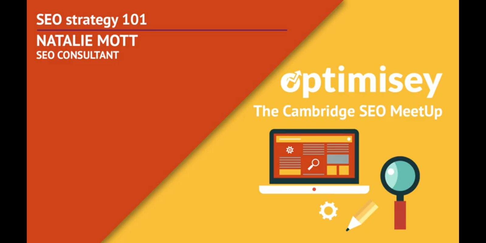 Natalie Mott's talk at the Optimisey SEO event - about SEO strategy