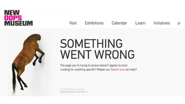 An error page – a slide from Luke Carthy's presentation on ecommerce SEO
