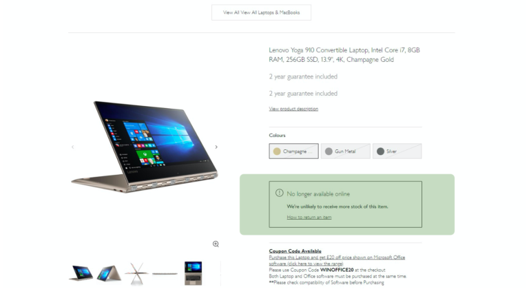 A screenshot of a John Lewis product page – a slide from Luke Carthy's talk on ecommerce