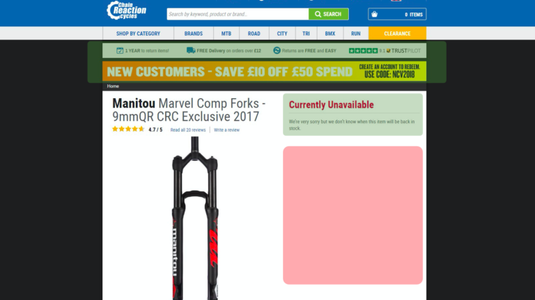 Chain Reaction cycles product pages – a slide from Luke Carthy's talk on ecommerce