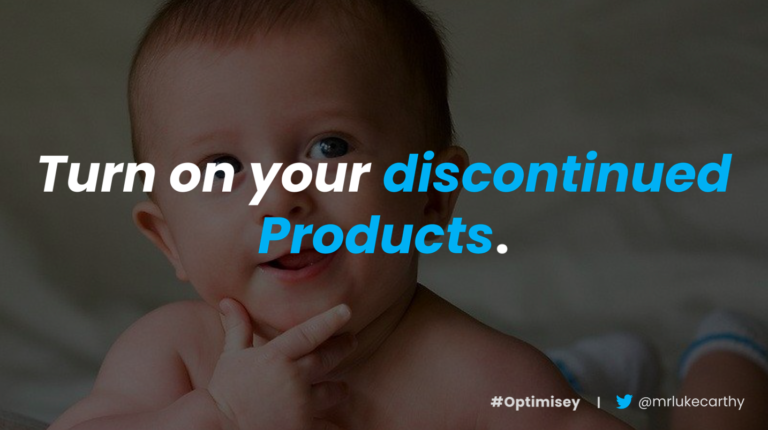 SEO for discontinued products – a slide from Luke Carthy's talk on ecommerce