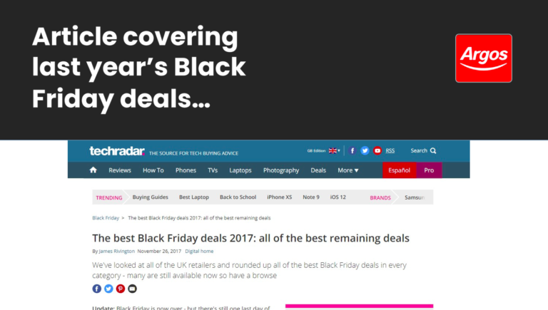 Black Friday deals and links – a slide from Luke Carthy's presentation on ecommerce SEO