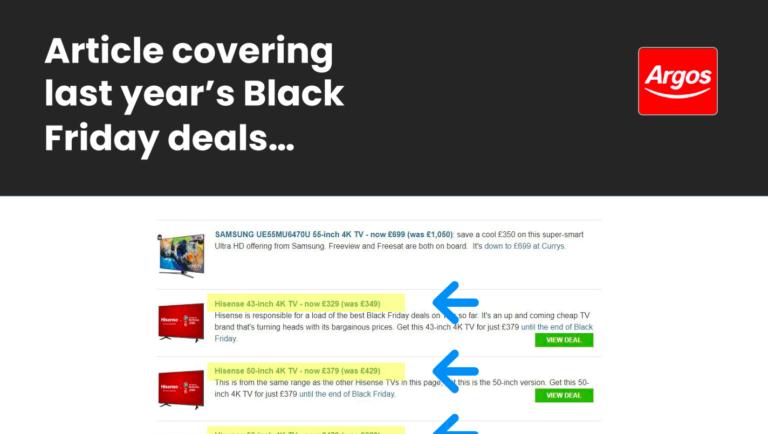 Black Friday advice – a slide from Luke Carthy's presentation on ecommerce SEO